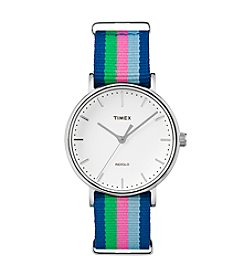 Timex® Women's Weekender Fairfield Multi-color Stripe Nylon Watch