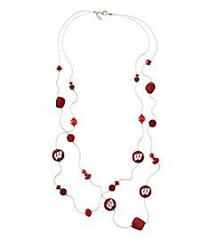 accessory PLAYS™ NCAA® Wisconsin Badgers Two Row Illusion Shell Stations Necklace