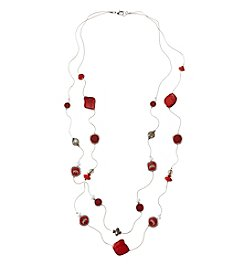 accessory PLAYS™ NCAA® Ohio State Buckeyes Two-Row Illusion Shell Stations Necklace