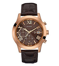 GUESS Men's Rose Goldtone And Brown Chronograph Watch