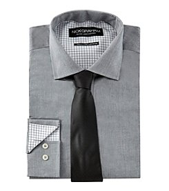 Nick Graham® Men's Houndstooth Shirt And Tie Set