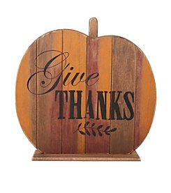 Living Quarters Give Thanks Wood Pumpkin Decor