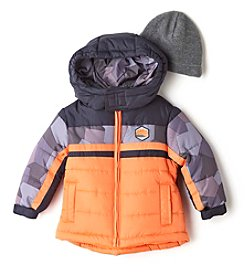 London Fog® Boys' 12M-16 Colorblock Puffer Jacket With Hat