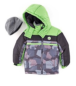 London Fog® Boys' 2T-20 Colorblock Puffer Jacket With Hat