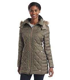Kenneth Cole® Quilt Faux Fur Trimmed Hooded Jacket