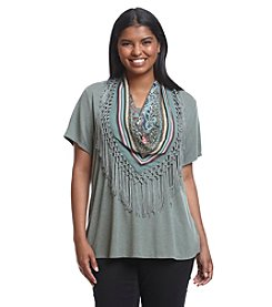Oneworld® Plus Size Solid Knit Top With Fringe Scarf