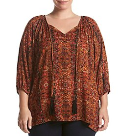 Relativity® Plus Size Printed Woven Top