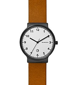 Skagen Men's Ancher Watch in Blacktone with Light Brown Leather Strap