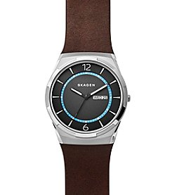 Skagen Men's Melbye Watch In Silvertone With Dark Brown Leather Strap