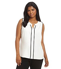 Calvin Klein Plus Size Split Neck Blouse