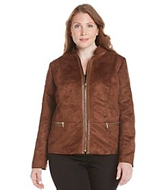 Laura Ashley® Plus Size Mixed Meida Faux Suede Jacket