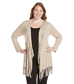 Laura Ashley® Plus Size Fringe Hem Cardigan