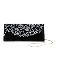 La Regale® Beaded Scroll Velvet Flap Clutch