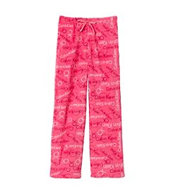 Calvin Klein Girls' 5-16 Logo Fleece Pajama Pants