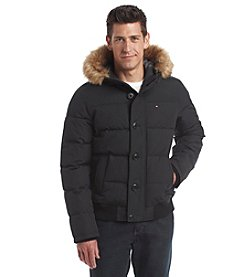 Tommy Hilfiger® Men's Artic Cloth Shortie Snorkel Hooded Bomber Jacket