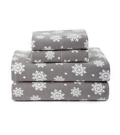Living Quarters Snowflake Patterned Cold Weather Fleece Ultra Warm Sheet Set