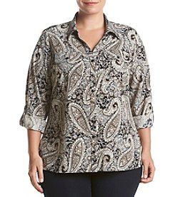 Studio Works® Plus Size Roll Sleeve Button Front Blouse