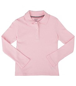 French Toast; Girls' 4-20 Plus Long Sleeve Interlock Polo with Picot Collar