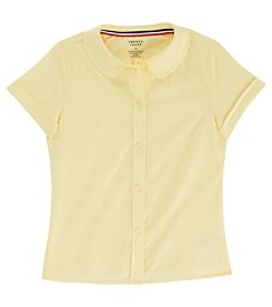 French Toast; Girls' 2T-20 Short Sleeve Modern Peter Pan Blouse