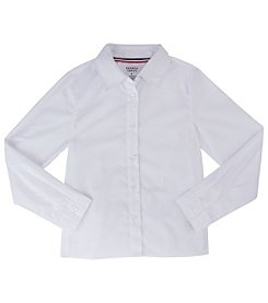 French Toast; Girls' 5-18 Long Sleeve Pointed Collar Blouse
