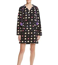 Zoe&Bella @BT Printed Black Emoji Fleece Lounger