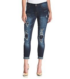 Hippie Laundry Dark Wash Destructed Skinny Ankle Jeans