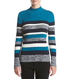 Studio Works® Petites' Stripe Ribbed Mock Neck Sweater