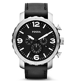 Fossil® Men's Nate Watch In Silvertone With Black Leather Strap