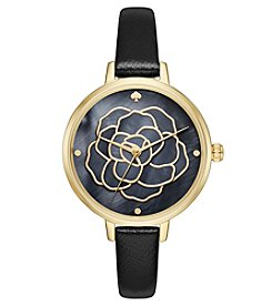 kate spade new york® Women's Black Leather And Goldtone Metro Watch