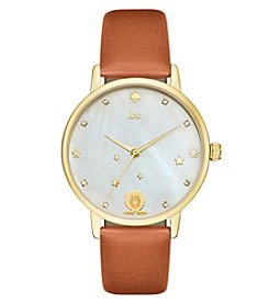 kate spade new york® Luggage Leather and Goldtone Leo Metro Watch
