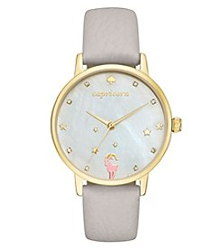 kate spade new york® Gray Leather and Goldtone Capricorn Metro Watch