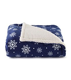 Living Quarters Blue Snowflake Print Micro Cozy Sherpa Throw