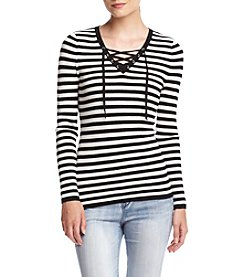 It's Our Time® Striped Long Sleeve Lace-Up V-Neck Sweater