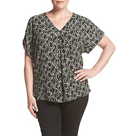 MICHAEL Michael Kors® Plus Size Graphic Snake Print Cold Shoulder Top