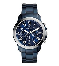 Fossil® Men's 44mm Blue Stainless Steel Grant Chronograph Watch With Three-Link Bracelet