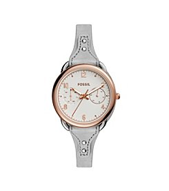 Fossil® Women's Tailor Watch In Rose Goldtone With Grey Leather Saddle Strap