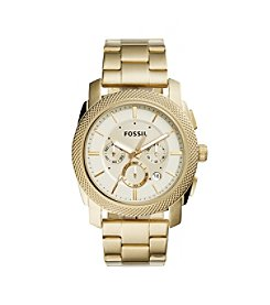 Fossil® Men's Machine Watch In Goldtone With Three Link Bracelet