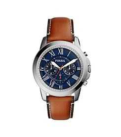 Fossil® Men's 44mm Silvertone Grant Watch with Light Brown Leather Strap