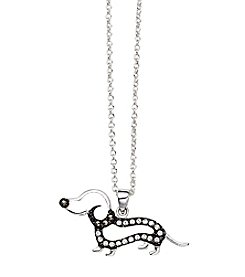 Marsala Silver-Plated Marcasite Dachshund Pendant