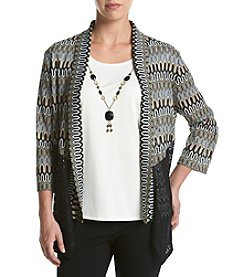 Alfred Dunner® Cardigan And Top Set With Necklace