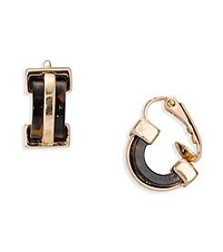 Lauren Ralph Lauren Goldtone Riding High Small Hoop Clip On Earrings