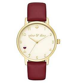 kate spade new york® Women's Merlot Leather And Goldtone Metro Watch