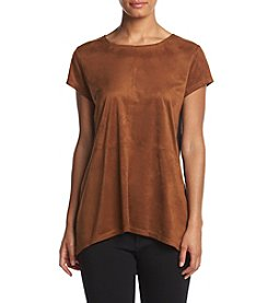 August Silk® Jewel Neck High-Low Top