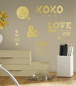 RoomMates Gold Love with Hearts and Arrows Peel & Stick Wall Decals