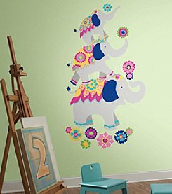 RoomMates Waverly Pink & Yellow Elephant Mega Peel & Stick Giant Wall Decals