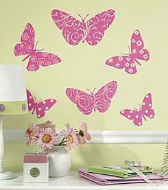 RoomMates Flocked Butterfly Peel & Stick Giant Wall Decals