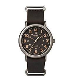 Timex® Men's Weekender Oversize Dark Brown Leather Slip-Thru Strap Watch