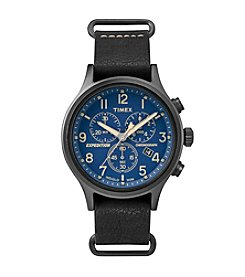 Timex® Men's Expedition Scout Chrono Black Leather Slip-Thru Strap Watch