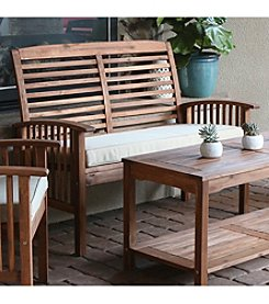 W. Designs Acacia Wood Patio Loveseat Bench