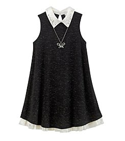 Beautees Girls' 7-16 Collared Swing Dress With Necklace